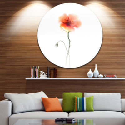 Design Art Large Pink and Red Poppy Flower Large Flower Metal Circle Wall Art