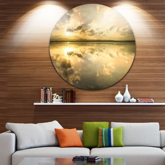 Design Art Amazing Foreshore Reserve Reflection Large Seashore Metal Circle Wall Art