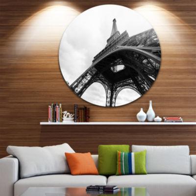 Design Art Paris Paris Eiffel Towerin Black and White Side View Ultra Glossy Cityscape Circle Wall Art