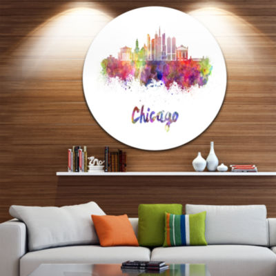 Design Art Colorful Chicago Skyline in WatercolorUltra Glossy Cityscape Circle Wall Art