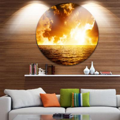 Design Art Fiery Sunlight in Beach during Sunset Seascape Metal Circle Wall Art