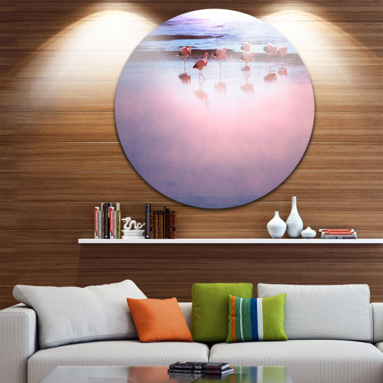 Design Art Flamingo Birds on Bolivia Beach Beach Metal Circle Wall Art
