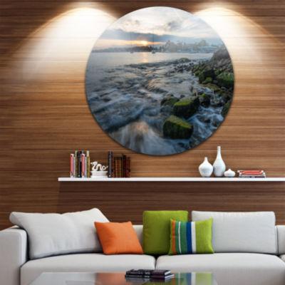 Design Art White Waves Hitting Rocky Seashore Large Seashore Metal Circle Wall Art