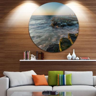 Design Art Sydney Beach with Mossy Rocks Large Seashore Metal Circle Wall Art