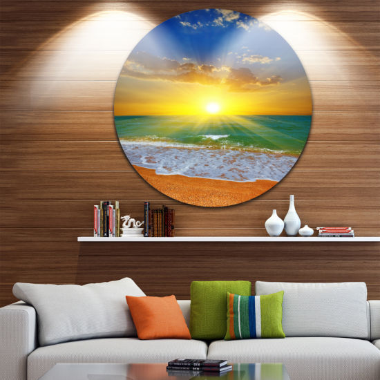 Design Art Dramatic Seashore Sky in Yellow Beach Metal Circle Wall Art