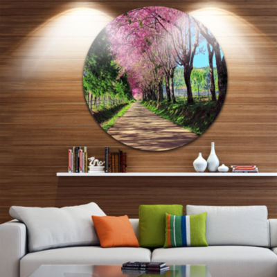 Design Art Cherry Blossom Pathway in Chiang Mai Landscape Metal Circle Wall Art
