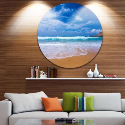 Design Art Serene Atlantic Seashore Portugal Seascape Metal Circle Wall Art