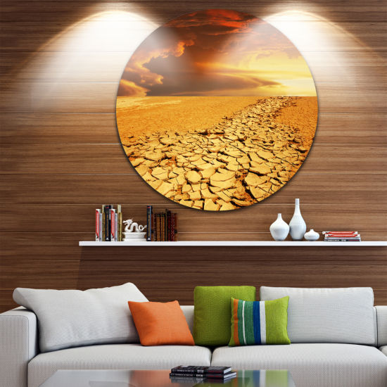 Design Art Drought Land under Dramatic Sky Landscape Metal Circle Wall Art