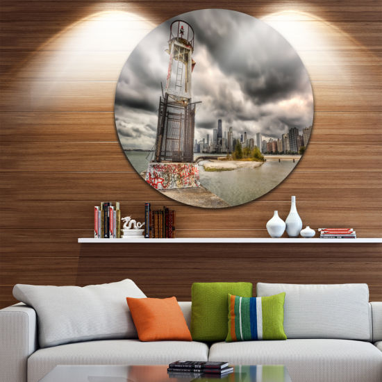 Design Art Lake Michigan Navigation Light Ultra Glossy Cityscape Circle Wall Art
