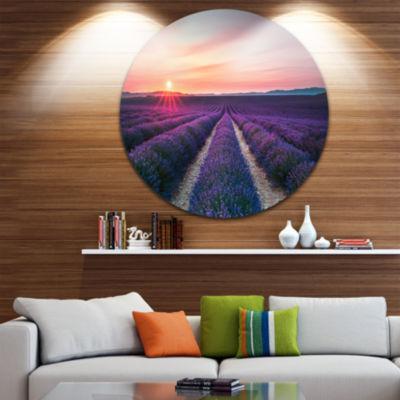 Design Art Endless Rows of Lavender Flowers Landscape Metal Circle Wall Art