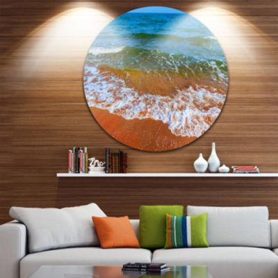 Design Art Summer Seashore with White Waves BeachMetal Circle Wall Art