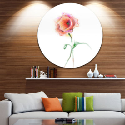 Design Art Red Poppy Flower with Green Leaves Large Flower Circle Metal Wall Art
