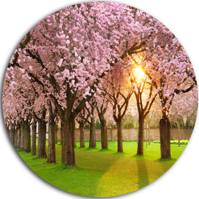 Design Art Fascinating Springtime Cherry Scenery Landscape Metal Circle Wall Art