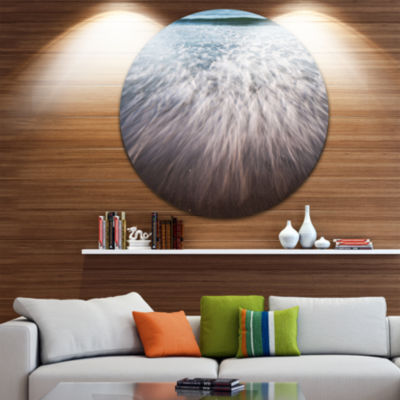 Design Art Ocean Beach Water Motion Seascape MetalCircle Wall Art
