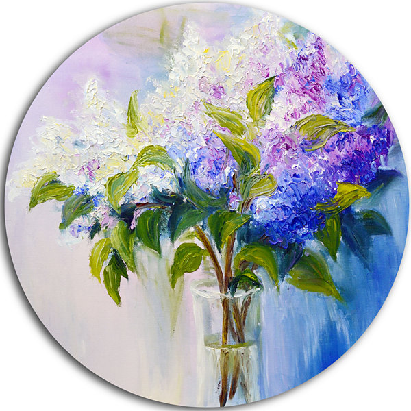 Design Art Blue and White Lilacs in Vase Ultra Glossy Floral Metal Circle Wall Art