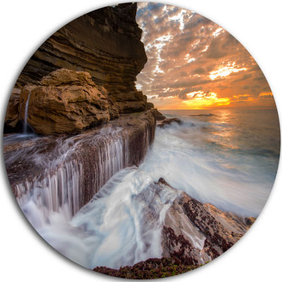 Design Art White Sea Waters at Coogee Beach LargeSeashore Metal Circle Wall Art