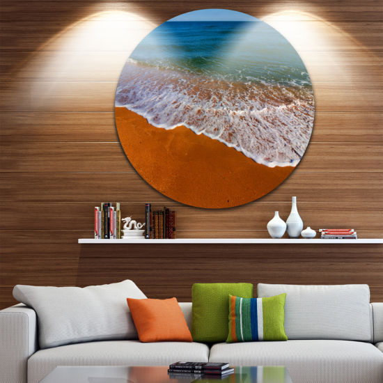 Design Art Summer Beach with White Waves Beach Metal Circle Wall Art