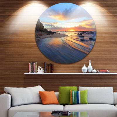 Design Art Exotic Seashore Sunrise Australia Seascape Metal Circle Wall Art