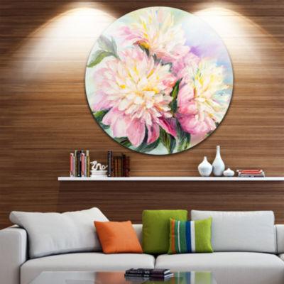 Design Art Blooming Pink Peonies Ultra Glossy Floral Metal Circle Wall Art