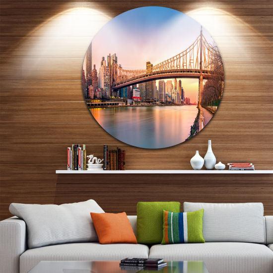Design Art Queenboro Bridge Panorama at Sunset Ultra Glossy Cityscape Circle Wall Art