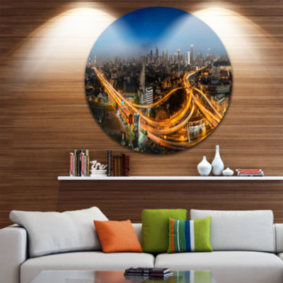 Design Art Highway and Main Traffic Bangkok Cityscape Circle Metal Wall Art