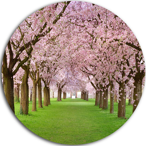 Design Art Stunning Cherry Blossoms Plenitude Landscape Metal Circle Wall Art