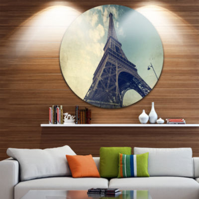 Design Art Paris Paris Eiffel TowerVintage View from Ground Ultra Glossy Cityscape Metal Circle WallArt