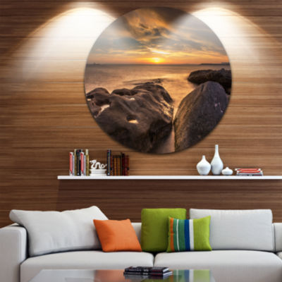 Design Art Rocky La Perouse Beach in Sydney LargeSeashore Metal Circle Wall Art