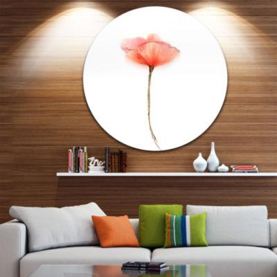 Design Art Watercolor Large Red Poppy Flower LargeFlower Metal Circle Wall Art
