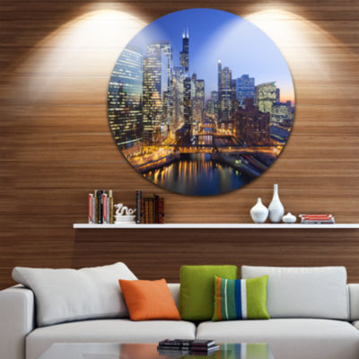 Design Art Chicago River with Bridges at Sunset Ultra Glossy Cityscape Circle Wall Art