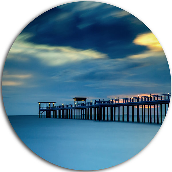 Design Art Wooden Pier and Turquoise Seashore PierSeascape Metal Circle Wall Art