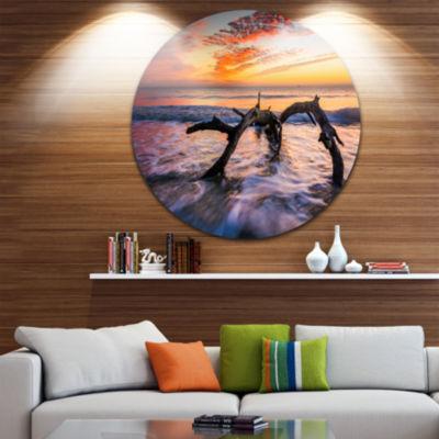 Design Art Tree and Waves in the Atlantic Ocean Seascape Metal Circle Wall Art