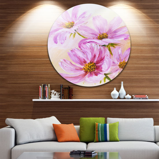 Design Art Blooming Pink Cosmos Flowers Ultra Glossy Floral Metal Circle Wall Art