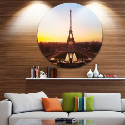 Design Art Brown Silhouette of Paris Paris EiffelTower Ultra Glossy Cityscape Metal Circle Wall Art