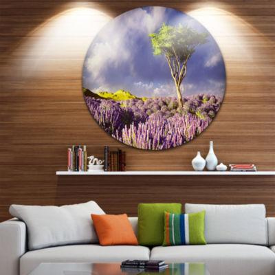 Design Art Green Tree in Lavender Field LandscapeMetal Circle Wall Art