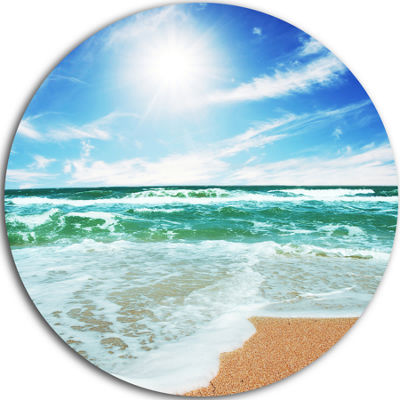 Design Art Vibrant Summer Sea at Daylight Beach Metal Circle Wall Art
