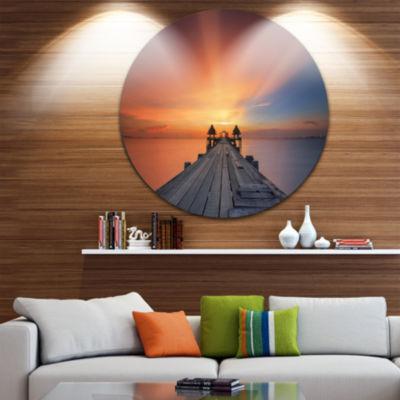 Design Art Wooden Bridge under Illuminated Sky Pier Seascape Metal Circle Wall Art