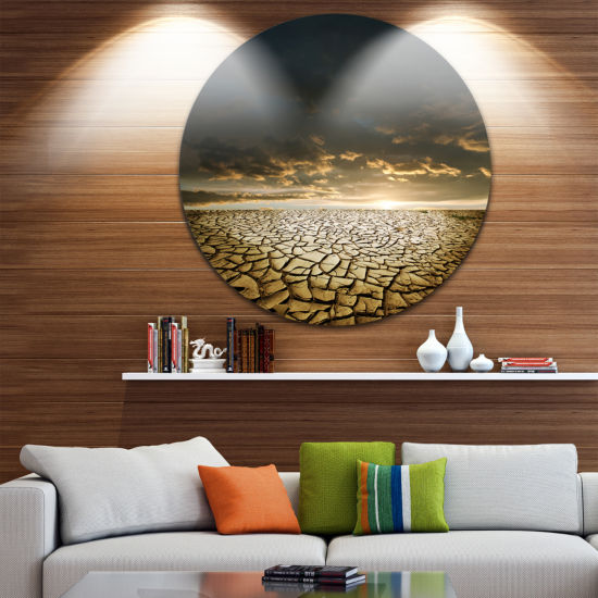 Design Art Drought Land under Cloudy Skies Landscape Metal Circle Wall Art