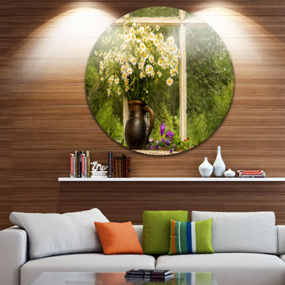 Design Art Still Life Bouquet of Chamomiles Landscape Metal Circle Wall Art