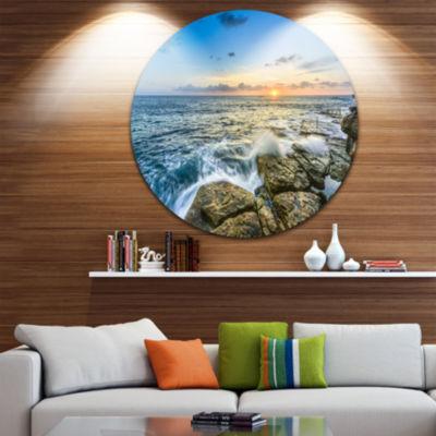 Design Art Rocky Coogee Beach in Sydney Large Seashore Metal Circle Wall Art