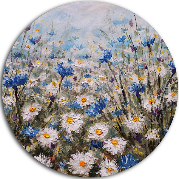 Design Art Glade of Cornflowers and Daisies UltraGlossy Floral Metal Circle Wall Art