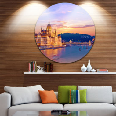 Design Art Parliament and Bridge over Danube UltraGlossy Cityscape Metal Circle Wall Art