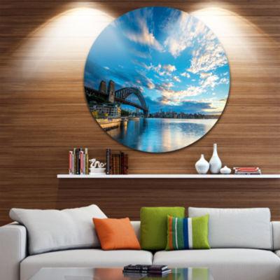 Design Art Sunrise from Sydney Harbor Bridge LargeSeashore Metal Circle Wall Art