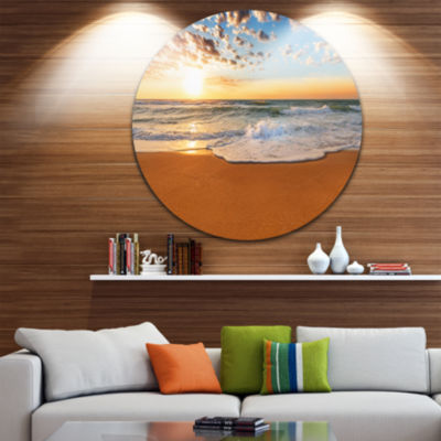 Design Art Incredible Seashore under Cloudy Sky Seascape Metal Circle Wall Art