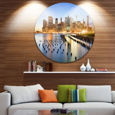 Design Art New York Skyline with Skyscrapers UltraGlossy Cityscape Circle Wall Art