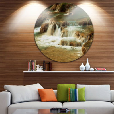 Design Art Waterfall Cascade with White Waters Landscape Metal Circle Wall Art