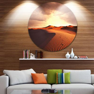 Design Art Desert Dunes under Cloudy Sky LandscapeMetal Circle Wall Art