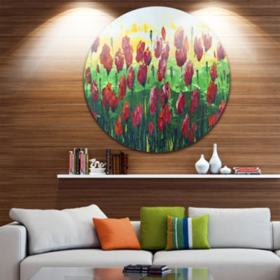 Design Art Wild Red Poppies Field Panorama Landscape Metal Circle Wall Art