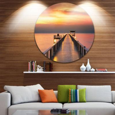 Design Art Yellowish Sky and Long Wooden Bridge Pier Seascape Metal Circle Wall Art