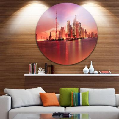 Design Art Shanghai Skyline at Dawn Panorama UltraGlossy Cityscape Metal Circle Wall Art